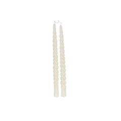 Bougie de table, torsadée, blanc cassé, lot de 2, 29 cm