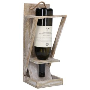 Bouteille mangeoire sur support en bois, 35 x 14 cm