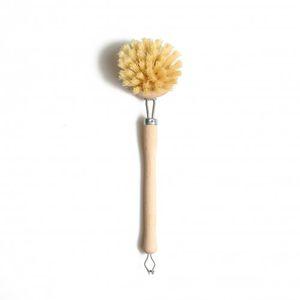 Brosse à vaisselle, manche en hêtre et brosse en fibres végétales, 24 cm