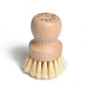 Brosse à vaisselle sans manche, bois de hêtre et poils végétaux, ca. 8 cm.