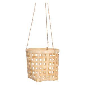 Cache-pot en bambou, corde de suspension en jute, Ø 18 x 16 cm