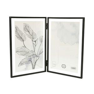 Cadre photo diptyque, métal, noir, 2x 13 x 18 cm