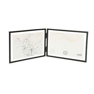 Cadre photo diptyque, métal, noir, 2x 15 x 10 cm