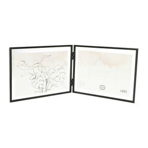 Cadre photo diptyque, métal, noir, 2x 18 x 13 cm