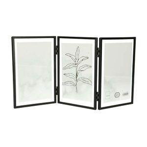 Cadre photo triptyque, métal, noir, 3x 10 x 15 cm