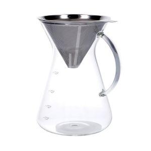 Carafe à café avec filtre, verre et inox, 600 ml