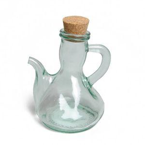 Carafe pour huile/vinaigre, verre recyclé, bouchon de liège