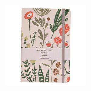 Carnet de notes, papier recyclé, fleurs, 21 x 14 cm
