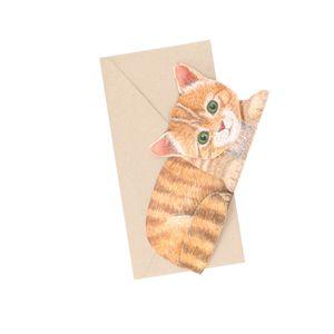 Carte 3D et enveloppe, chat