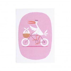 Carte, cicogne à vélo, roze