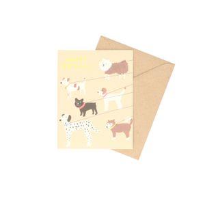 Carte d'anniversaire + enveloppe, chien en promenade