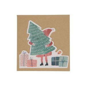 Carte de Noël + enveloppe, père Noël et sapin