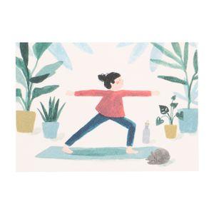 Carte, yoga et chat