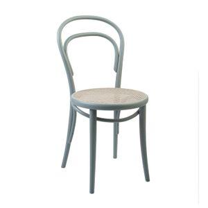 Chaise n° 14, hêtre, laqué gris, assise cannée