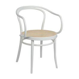 Chaise n° 6, hêtre, laqué blanc, assise cannée