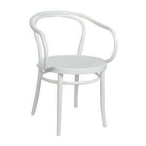 Chaise n° 30, hêtre, laqué blanc, assise en bois
