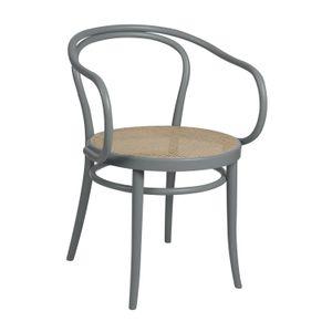 Chaise n° 30, hêtre, laqué gris, assise cannée