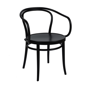 Chaise n° 30, hêtre, laqué noir, assise en bois