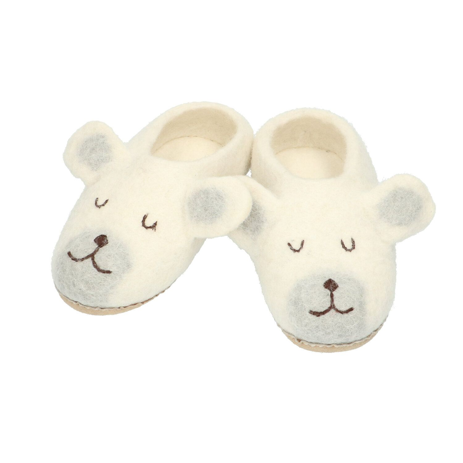 Chaussons, ours polaire, feutrine, 26/27