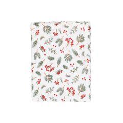 Chemin de table, coton bio, baies rouges, 50 x 150 cm