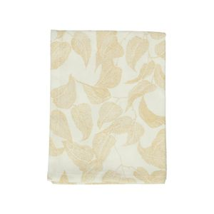 Chemin de table, coton bio, blanc à motif de feuillage jaune, 50 x 150 cm