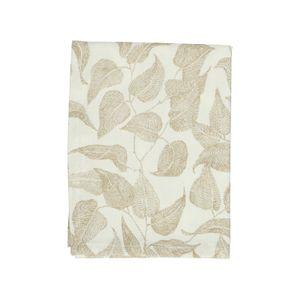 Chemin de table, coton bio, blanc à motif de feuillage taupe, 50 x 150 cm