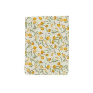 Chemin de table, coton bio, citrons, 50 x 150 cm