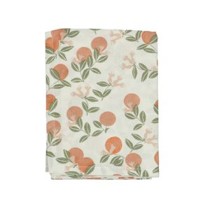 Chemin de table, coton bio, oranges, 50 x 150 cm