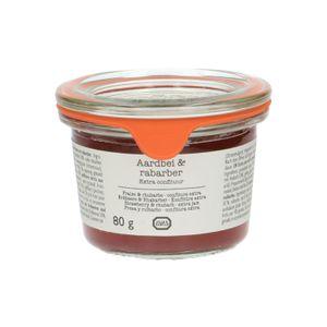 Confiture extra, fraises & rhubarbe, 80 g