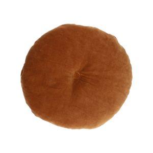 Coussin en velours, coton biologique, brun, rond