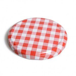 Couvercle, vichy rouge et blanc, pour bocal lisse et  à facettes