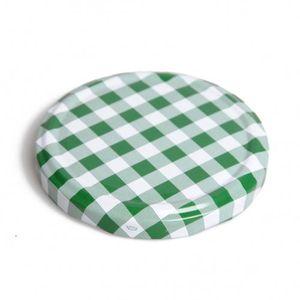 Couvercle, vichy vert et blanc, pour bocal lisse et à facettes