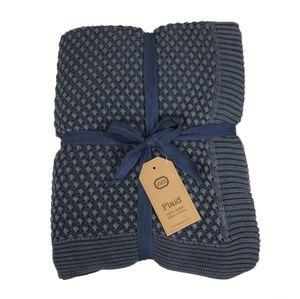 Decke, Baumwolle, graublau verblichen, 130 x 170 cm