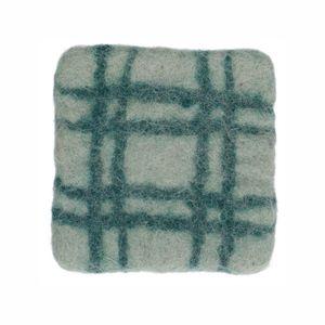 Dessous de verre, feutrine, vert clair à carreaux, 10 x 10 cm