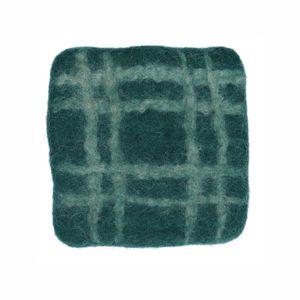 Dessous de verre, feutrine, vert foncé à carreaux, 10 x 10 cm