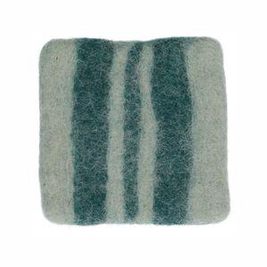 Dessous de verre, feutrine, vert foncé à rayures, 10 x 10 cm
