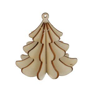 DIY kersthanger dennenboom 3d, hout, 9 cm
