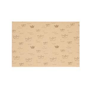 Enveloppe, papier bouse, naturel, à motif de bâteau, 24 x 16 cm