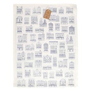 Essuie de vaisselle, coton bio, blanc à motif de façades bleues, 50 x 70 cm
