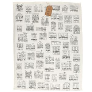 Essuie de vaisselle, coton bio, blanc à motif de façades noires, 50 x 70 cm