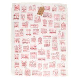 Essuie de vaisselle, coton bio, blanc à motif de façades rouges, 50 x 70 cm