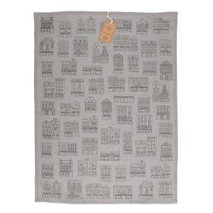 Essuie de vaisselle, coton bio, gris à motif de façades noires, 50 x 70 cm