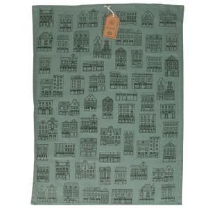 Essuie de vaisselle, coton bio, gris-vert à motif de façades noires, 50 x 70 cm