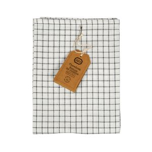Essuie de vaisselle, coton bio, noir à carreaux, 50 x 70 cm