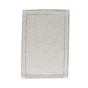 Essuie de vaisselle/essuie-verres, lin & coton, à carreaux noirs et blancs