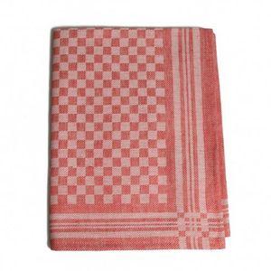 Essuie-verres, lin/coton, rouge, à carreaux