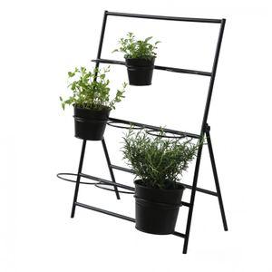 Etagère à plantes, métal, noir