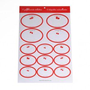 Etiketten, wit met rood fruitdessin, 13 stuks