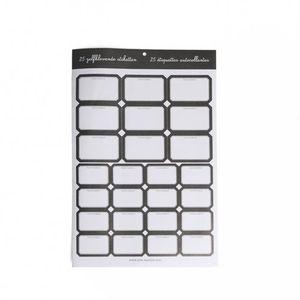 Etiketten, zwart rand, 25 stuks