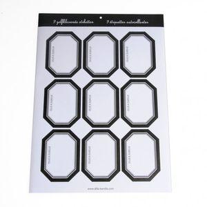 Etiquettes, bord noir, 9 pcs